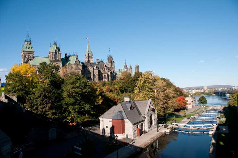 The Rideau Canal near the Parliament Hill in Ottawa, Ontario, Canada