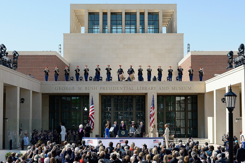 . Former first lady Laura Bush, U.S. President Barack Obama, former President George W. Bush, former President Bill Clinton, former President George H.W. Bush and former President Jimmy Carter attend the opening ceremony of the George W. Bush Presidential Center April 25, 2013 in Dallas, Texas. The Bush library, which is located on the campus of Southern Methodist University, with more than 70 million pages of paper records, 43,000 artifacts, 200 million emails and four million digital photographs, will be opened to the public on May 1, 2013. The library is the 13th presidential library in the National Archives and Records Administration system.  (Photo by Kevork Djansezian/Getty Images)