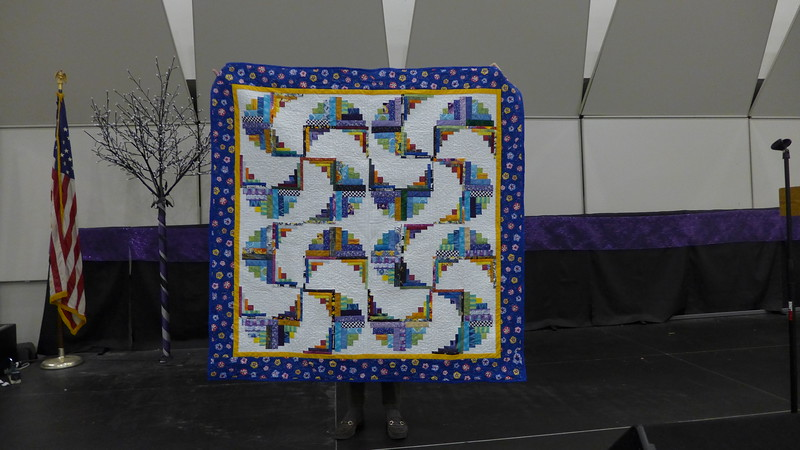 Fran Mort showed us a quilt that she finished.  Custom Quilts of Haslett made the quilt and Fran is giving it to her insurance nurse as she has been so helpful.