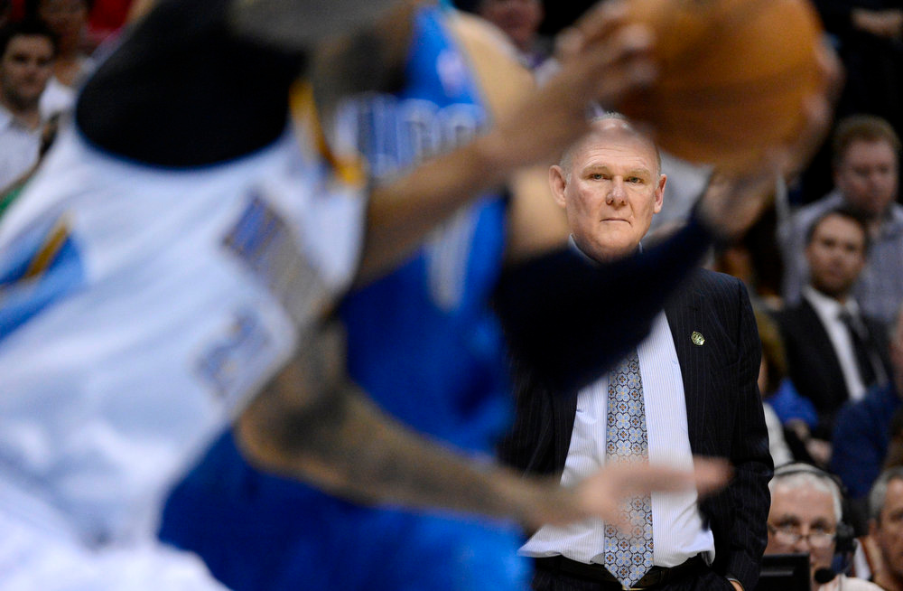 . Head coach George Karl of the Denver Nuggets looks on during the third quarter April 4,  2013 at Pepsi Center. The Denver Nuggets defeated the Dallas Mavericks 95-94. (Photo By John Leyba/The Denver Post)