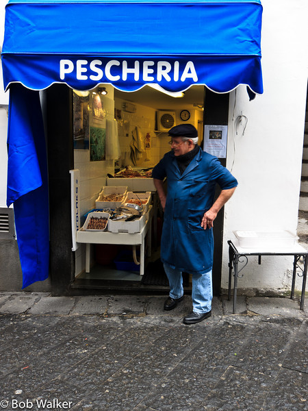 Another store owner at his Pescheria (fish market)