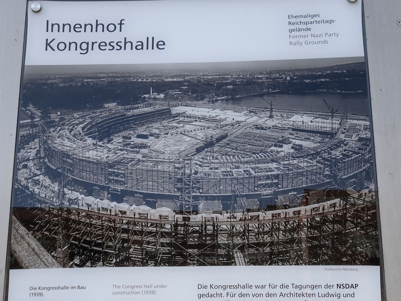 Hitler wanted to build this elaborate Congress Hall ... it was never finished and is now a parking lot and a museum. The parking lot is where the giant senate hall would have been.