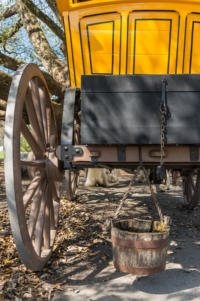 Colonial Style Wagon with Hanging Wooden Water Bucket