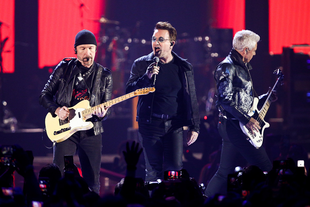 . The Edge, from left, Bono and Adam Clayton of the music group U2 performs at the 2016 iHeartRadio Music Festival - Day 1 held at T-Mobile Arena on Friday, Sept. 23, 2016, in Las Vegas. U2 will be performing at FirstEnergy Stadium on July 1. For more information, visit firstenergystadium.com. (Photo by John Salangsang/Invision/AP)