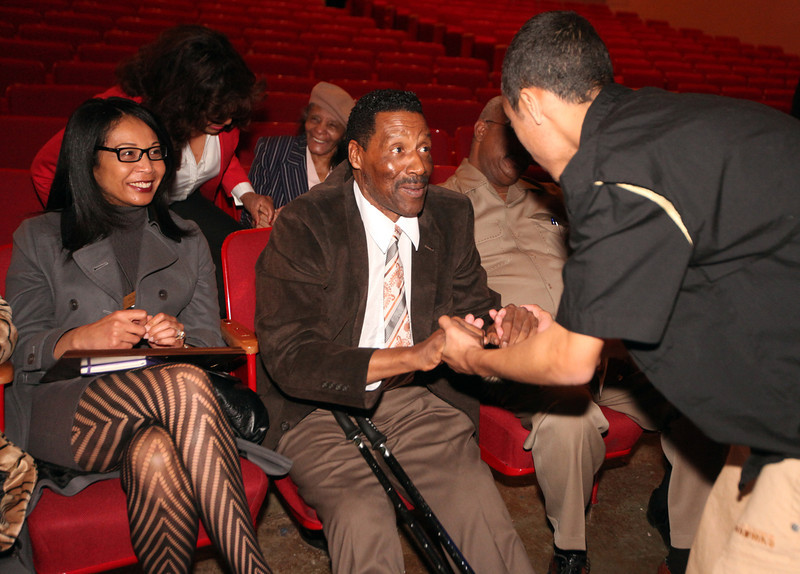 . Leonard Oscar Irving-Thomas, 15, approaches former A\'s pitcher Mike Norris with Yuri Norris, left, after Skyline\'s annual Black History Assembly at Skyline High School in Oakland, Calif. on Monday, Feb. 4, 2013. Mike Norris, former A\'s pitcher from 1975-83 and a member of the Black Aces, was honored at the assembly with a short video about his career and present work with inner city youth.  After Norris gave an inspirational talk to the Black Student Union about leadership, courage, and hard work, they voted to honor him at the assembly. He was presented with a plaque from the Oakland Unified School District and the Black Student Union at the assembly.   (Laura A. Oda/Staff)