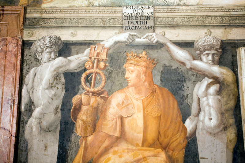 """Ferdinand II of Aragon, """"The Catholic"""", King of Spain, fresco painting from the room of the Fire in the Borgo, Vatican Museums"""