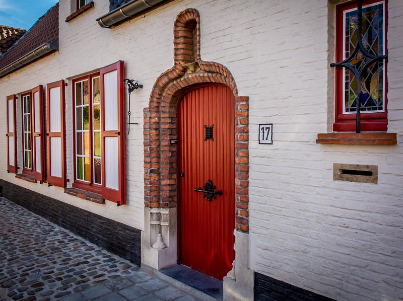 Colorful Street in Bruges, Belgium