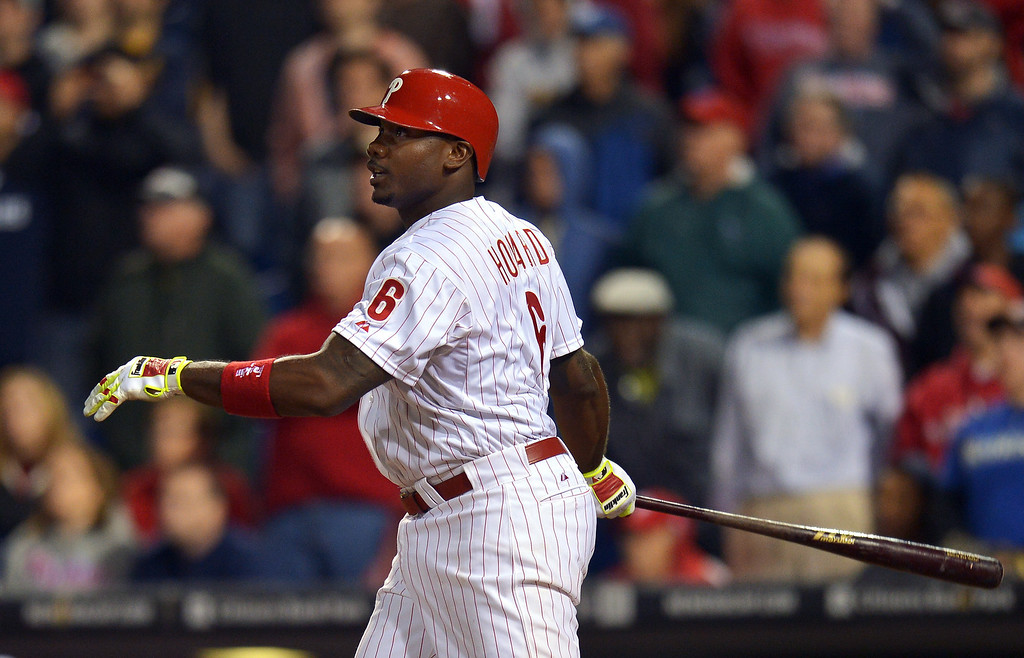 . Ryan Howard #6 of the Philadelphia Phillies hits a walk-off three-run home run in the ninth inning against the Colorado Rockies at Citizens Bank Park on May 28, 2014 in Philadelphia, Pennsylvania. The Phillies won 6-3. (Photo by Drew Hallowell/Getty Images)