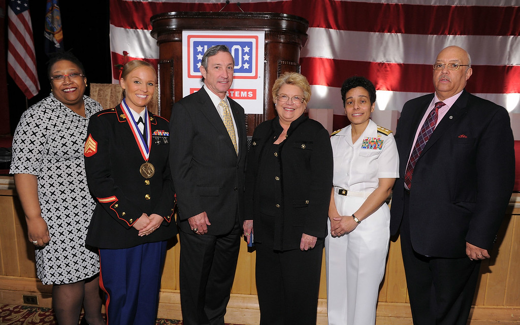 . (L-R) Clarice Joynes, Sara Bryant, Patrick Condren, Linda Parker Hudson, Rear Admiral Michelle Howard and Commissioner of the mayor\'s office of Veterans\' Affairs for New York City Terrance Holliday attend the USO 45th Annual Woman Of The Year Luncheon honoring Military Women and Women Business Leaders at the Grand Ballroom at The Waldorf=Astoria on April 26, 2011 in New York City.  (Photo by Mike Coppola/Getty Images for USO of Metro New York)