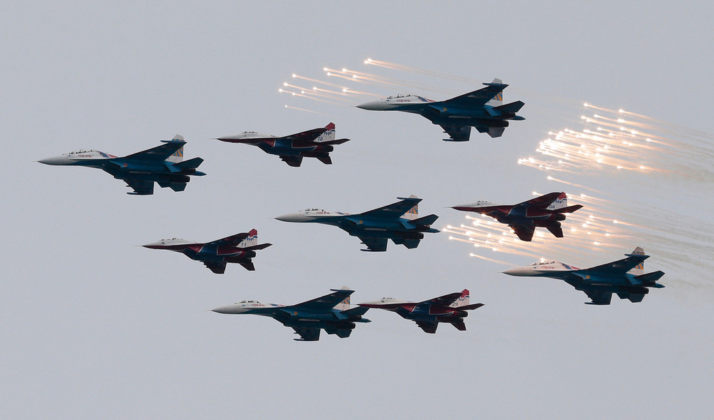 . Russian fighter jets perform during a navy parade marking the Victory Day in Sevastopol, Crimea, Friday, May 9, 2014. (AP Photo/Ivan Sekretarev)