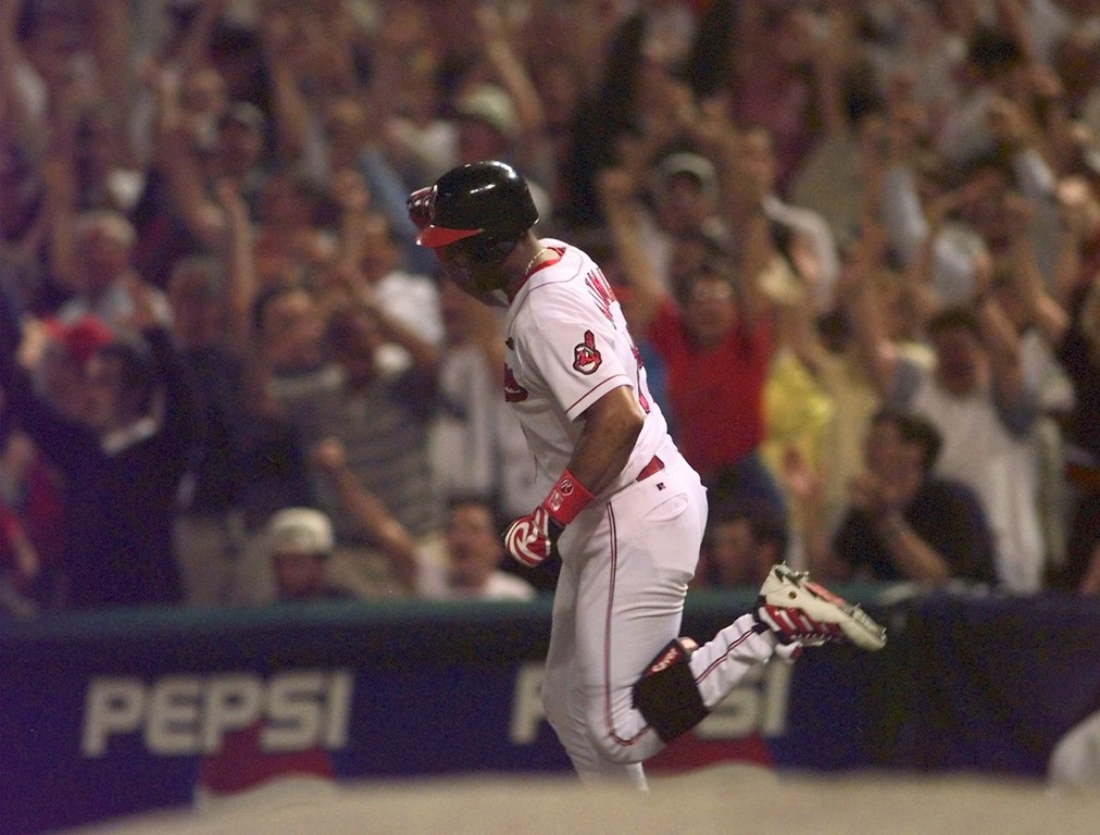. Cleveland Indians\' Sandy Alomar rounds the bases after hitting the game winning two run homer in the seventh inning of the 68th All-Star Game Tuesday, July 8, 1997 in Cleveland. The American League won 3-1. (AP Photo/Beth A. Keiser)