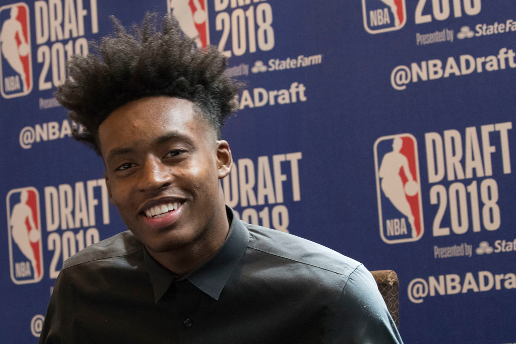 . Alabama\'s Collin Sexton speaks to reporters during a media availability with the top basketball prospects in the NBA Draft, Wednesday, June 20, 2018, in New York. (AP Photo/Mary Altaffer)