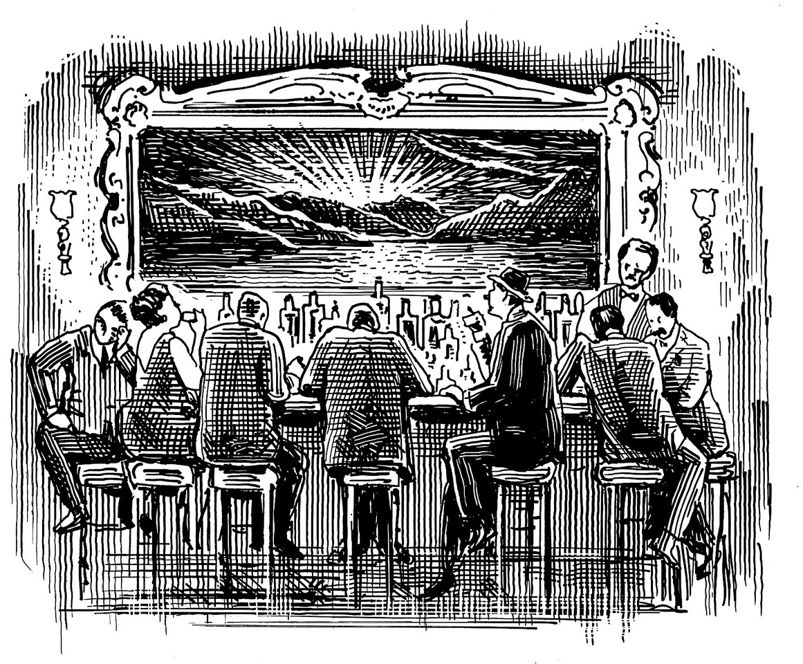 Bar at Night; drawing for The American Spectator