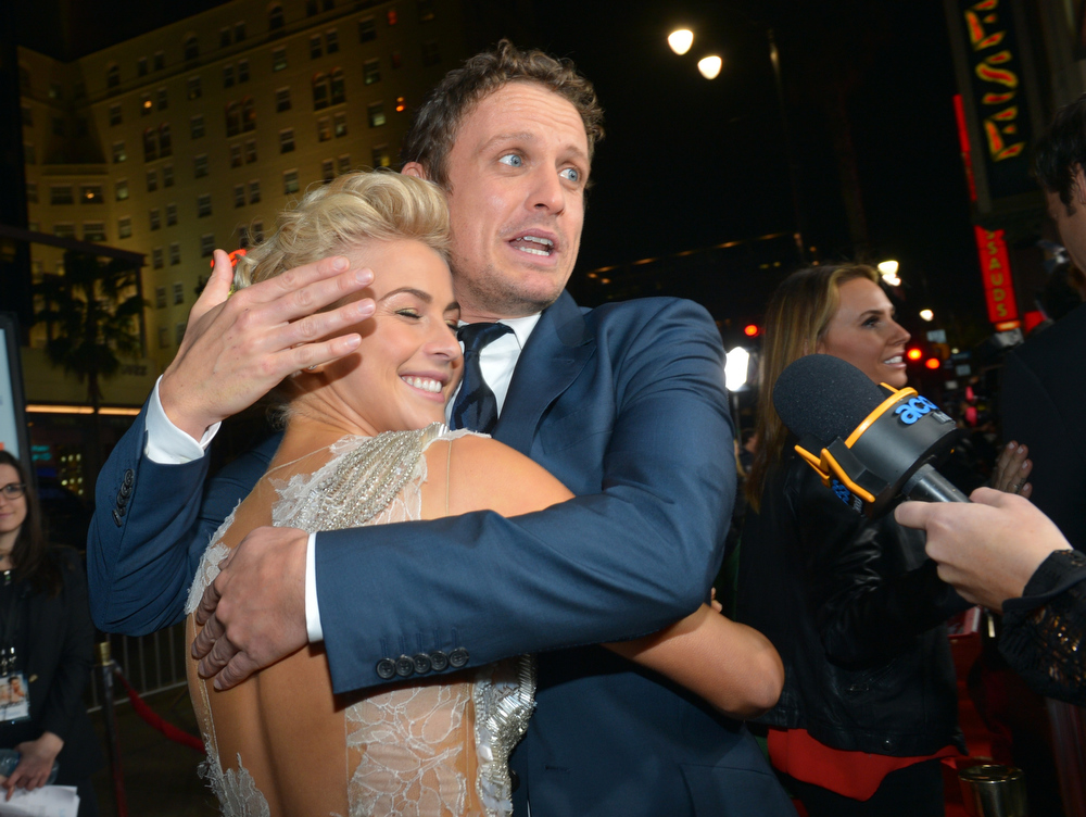 ". Actors Julianne Hough (L) and David Lyons arrive at the premiere of Relativity Media\'s ""Safe Haven\"" at TCL Chinese Theatre on February 5, 2013 in Hollywood, California.  (Photo by Alberto E. Rodriguez/Getty Images for Relativity Media)"