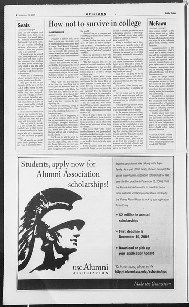 Daily Trojan, Vol. 156, No. 65, November 29, 2005