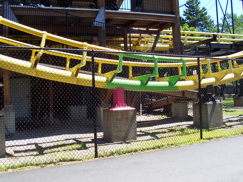 Here's the section of the Canobie Corkscrew painted green and pink.