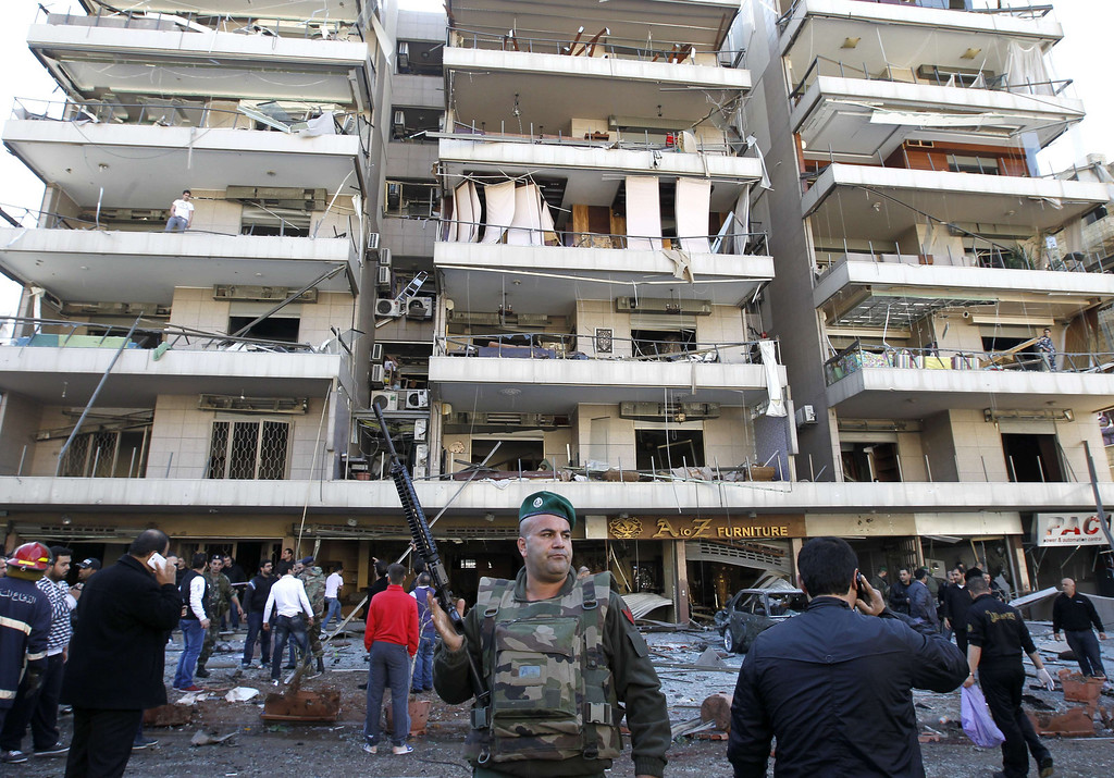 . A Lebanese soldier stands guard at the site of a bomb explosion in a southern suburb of the capital Beirut on February 19, 2014.  AFP PHOTO / ANWAR AMRO/AFP/Getty Images