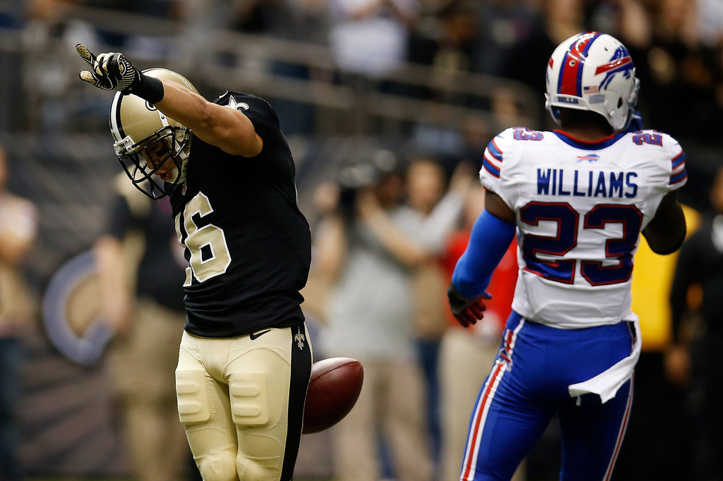 . Lance Moore #16 of the New Orleans Saints celebrates after scoring a touchdown against the Buffalo Bills at Mercedes-Benz Superdome on October 27, 2013 in New Orleans, Louisiana.  (Photo by Chris Graythen/Getty Images)