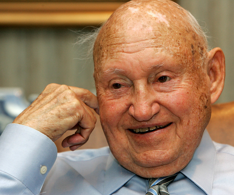 . In this July 26, 2006 file photo, Chick-Fil-A founder Truett Cathy reacts during an interview at his corporate headquarters office in Hapeville, Ga. It is not entirely clear wether Chick-fil-a has definitely ended its financial support for groups that oppose same-sex unions. But a statement issued by the company Wednesday, Sept. 20, 2012, just months after its chief spoke against gay marriage, indicates it now plans to keep its distance from the more controversial views held by its Southern Baptist owners.  (AP Photo/Ric Feld, File)