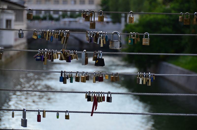 Love Padlocks. Butcher's Bridge, Ljubljana
