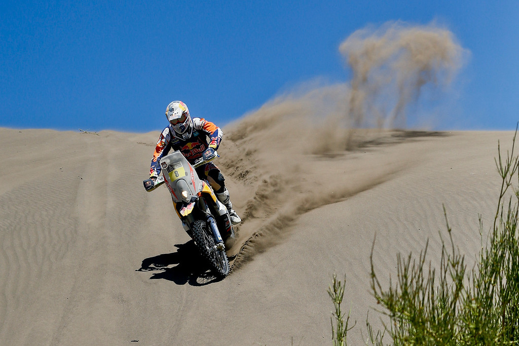 . KTM rider Ruben Faria of Portugal rides in the dunes during the second stage of the Dakar Rally between the cities of San Luis and San Rafael in San Rafael, Argentina, Monday  Jan. 6, 2014. The second stage is regarded as one of the fastest in the two-week rally, which ends Jan. 18 in Valparaiso, Chile. This is the sixth consecutive year the race has been run in South America, and the first time Bolivia has been on the route.(AP Photo/Victor R. Caivano)