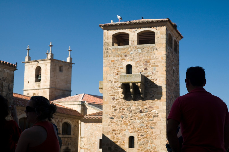 Tower of Golfines de Abajo palace, with the Cathedral bell tower on the background, San Jorge square, Caceres, Spain