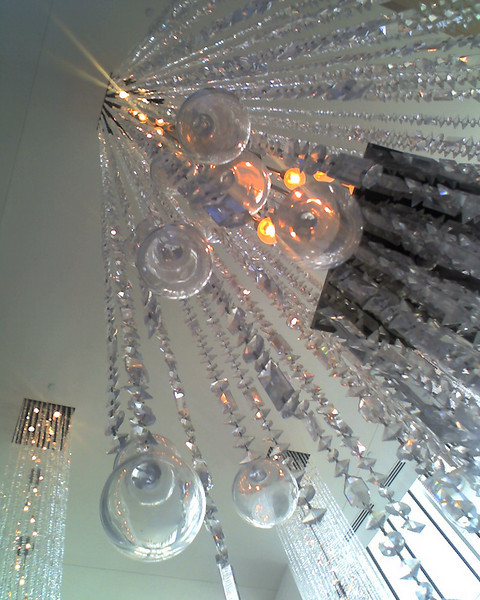 Chandeliers in the lobby of the W Hotel in downtown Dallas