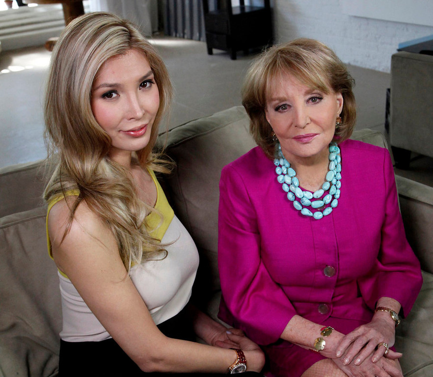 ". Beauty contestant Jenna Talackova, left, poses with ABC\'s Barbara Walters at an interview Thursday, April 5, 2012 in New York. Talackova, who advanced to the finals of the Miss Canada competition, part of the Miss Universe contest, says she was forced out of the competition because pageant officials alleged she was not ""a naturally-born female.\""  (AP Photo/ABC, Heidi Gutman)"