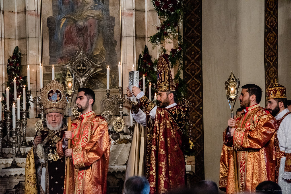 Easter service at Etchmiadzin with Catholicos in attendance