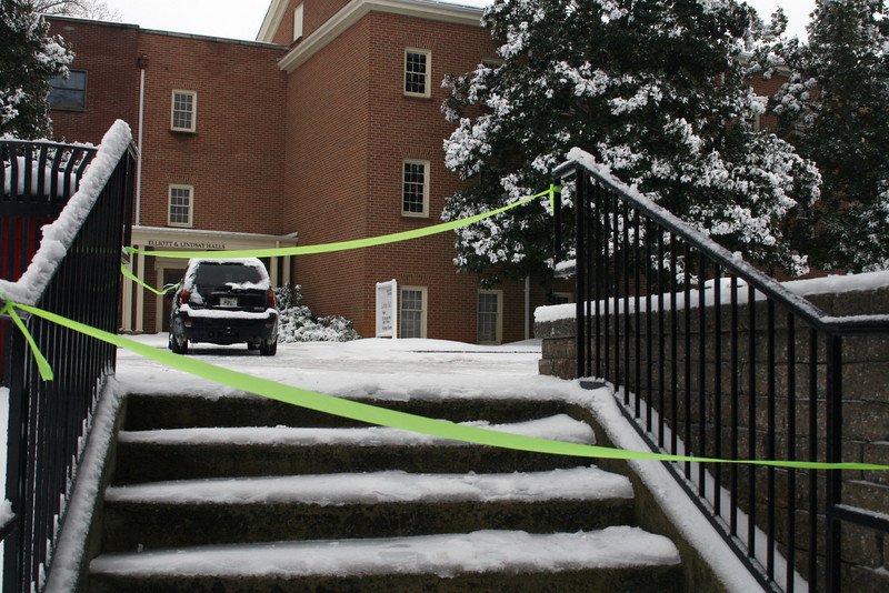 University Police made sure to block off any dangerously icy steps over the weekend, including this one outside Lindsay Hall.