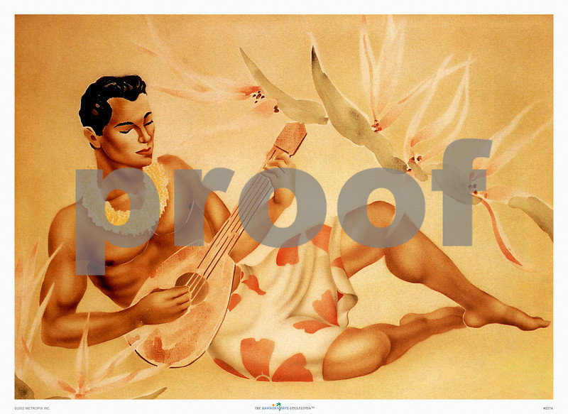 027: Gill: Ukulele Player. Ca. 1940's. Classic Gill image of a relaxed Hawaiian male ukulele player surrounded by Hawaiian flora. This reclining ukulele player, created in the 1940's by the Californian artist Gill, has since become one of the most popular retro Hawaiian images.  PROOF watermark will not appear on your print.