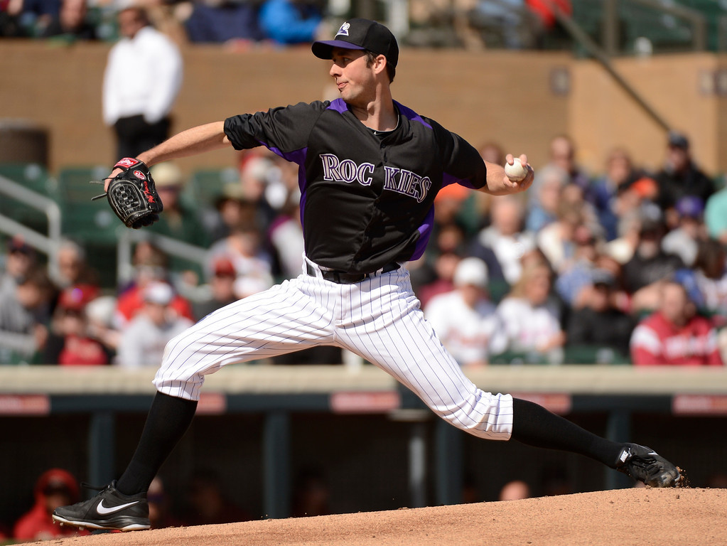 . SCOTTSDALE, AZ. - FEBRUARY 24:  Jeff Francis (26) of the Colorado Rockies delivers a pitch in the first inning against the Arizona Diamondbacks February 24, 2013 in Scottsdale. (Photo By John Leyba/The Denver Post)