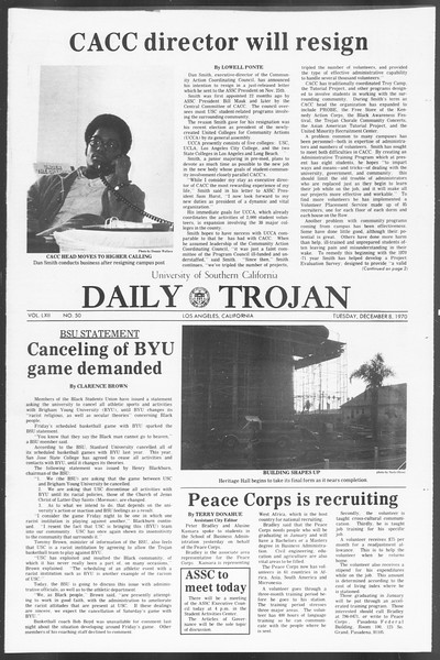 Daily Trojan, Vol. 62, No. 50, December 08, 1970