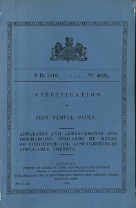 Samuel John Pauly's May 14, 1816British Patent