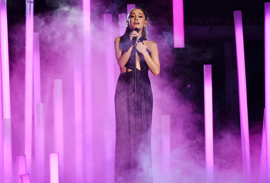 . Ariana Grande performs at the 57th annual Grammy Awards on Sunday, Feb. 8, 2015, in Los Angeles. (Photo by John Shearer/Invision/AP)