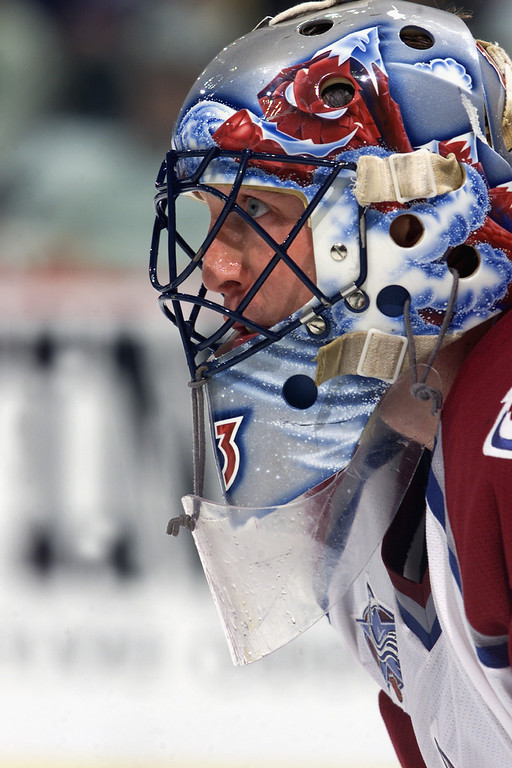 . Patrick Roy of the Colorado Avalanche looks on in Game seven of the Western Conference Finals against the Los Angeles Kings during the 2001 NHL Playoffs on May 9, 2001 at the Pepsi Center in Denver.  (Photo by Brian Bahr/Getty Images/NHLI)