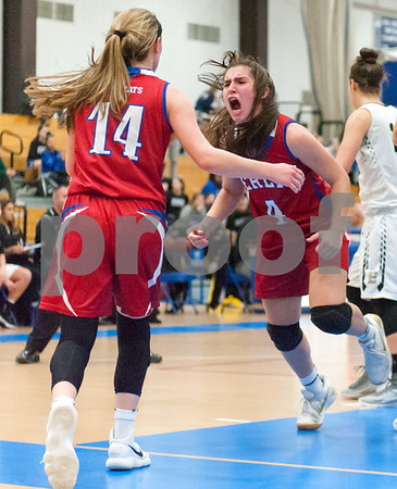 02/20/18 Wesley Bunnell | Staff Berlin girls basketball was defeated 80-50 by Enfield at Glastonbury High School on Tuesday night during the CCC tournament. Lyzi Litwinko (4) is pumped up after Angela Perrelli (14) is fouled but is still able to make the basket.