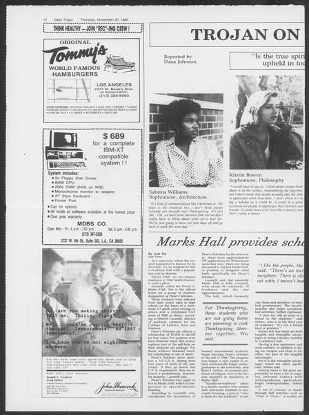 Daily Trojan, Vol. 102, No. 57, November 20, 1986