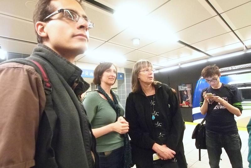 Waiting for Skytrain Canada Line rapid transit with Jordan, Jacquie, Stina, Regan.