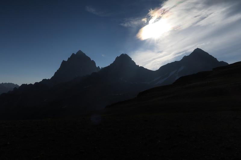 Grand, Middle, and South Teton silhouetted by the morning sun
