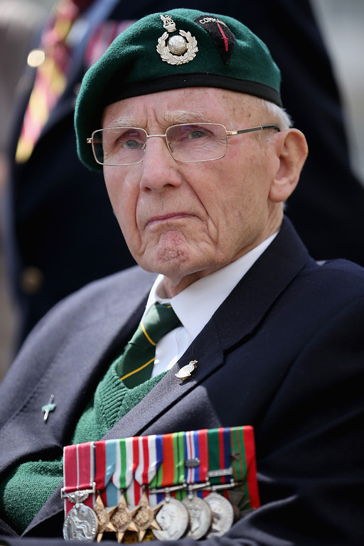 . D-Day veteran and Royal Marine commando Jim Kelly, aged 91, looks on during the Royal Artillery Commemoration Parade and service on Sword Beach on June 5, 2014 in Hermanville, France.   (Photo by Christopher Furlong/Getty Images)