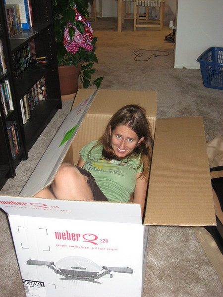 Katy thought it would be fun to take a nap in the box