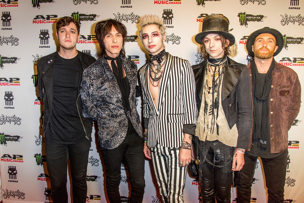 . Michael Taylor Zenk, from left, Sebastian Danzig, Remington Leith, Emerson Barrett and Danny Wagstaff of Palaye Royale seen at 2017 Alternative Press Music Awards at the KeyBank State Theatre on Monday, July 17, 2017, in Cleveland. (Photo by Amy Harris/Invision/AP)