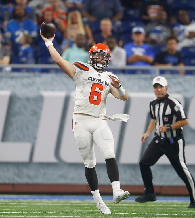 . Cleveland Browns quarterback Baker Mayfield throws during the first half of an NFL football preseason game against the Detroit Lions, Thursday, Aug. 30, 2018, in Detroit. (AP Photo/Paul Sancya)