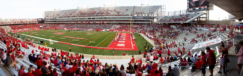 The crowd gathers in TDECU Stadium.
