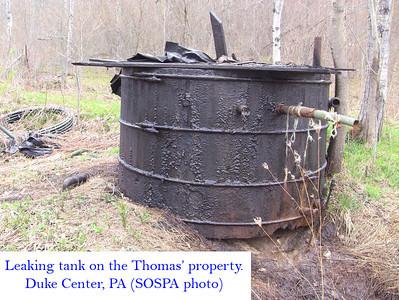 Oil tank leaking, Duke Center, McKean County, Pennsylvania, December 2013