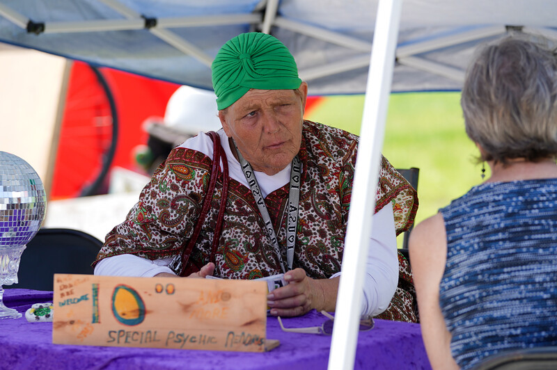 A psychic on the boardwalk offers $10 consultations.