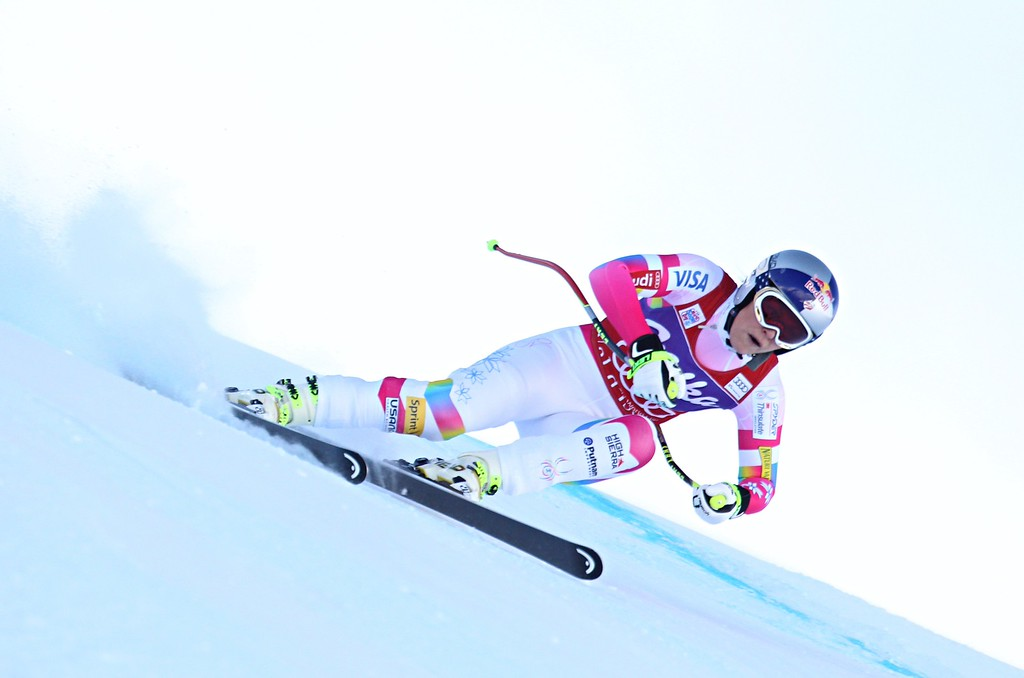 . Lindsey Vonn of the USA takes 1st place during the Audi FIS Alpine Ski World Cup Women\'s Downhill on December 20, 2014 in Val D\'isere, France.  (Photo by Christophe Pallot/Agence Zoom/Getty Images)