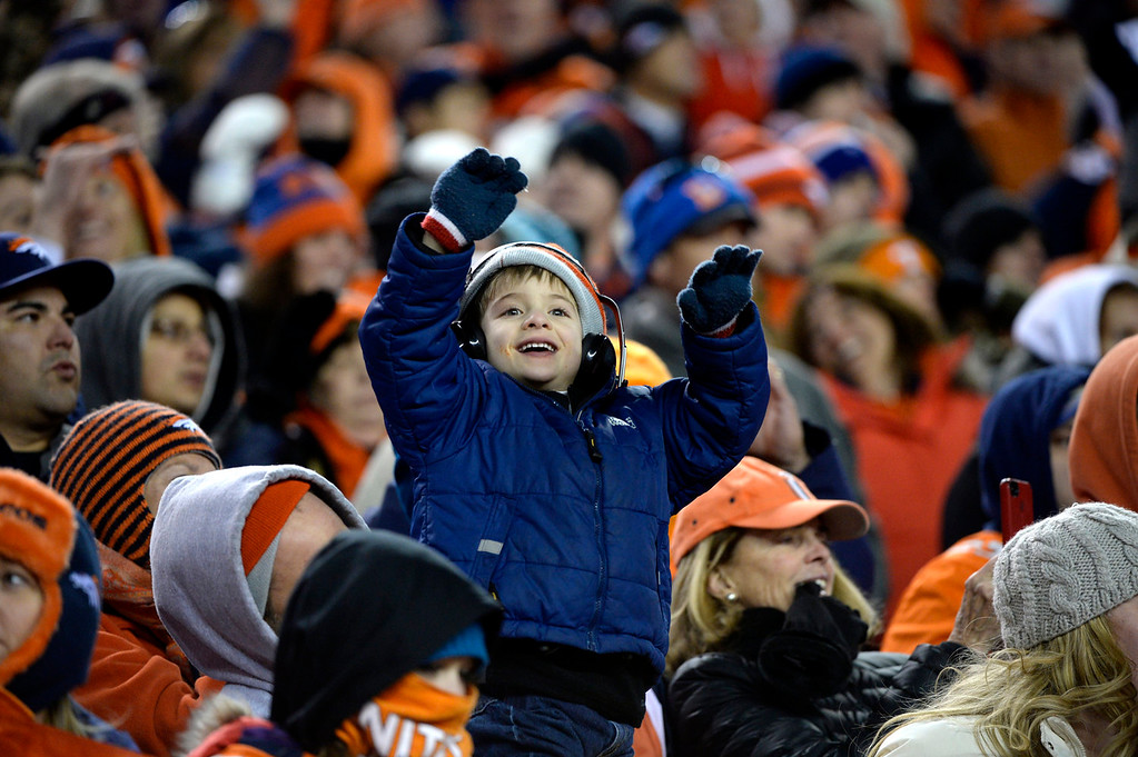 . Broncos fans cheer in the fourth quarter. The Denver Broncos take on the San Diego Chargers at Sports Authority Field at Mile High in Denver on January 12, 2014. (Photo by Craig F. Walker/The Denver Post)