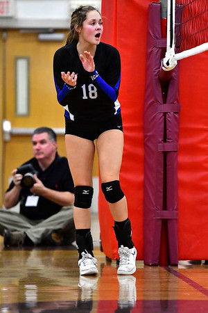 10/30/2019 Mike Orazzi | Staff Bristol Eastern's Leah Chipman (18) during Wednesday night's volleyball match with Bristol Centra
